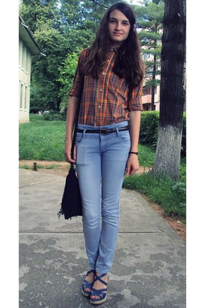 tawny vintage blouse - blue no name jeans - black no name bag