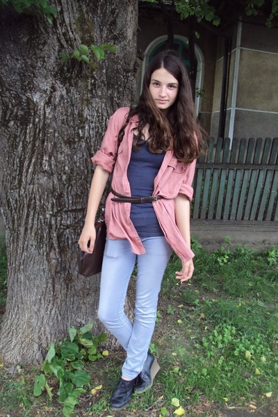 peach Carfetti blouse - blue no name jeans - dark brown Noblesse bag