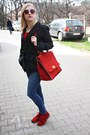 Red-leather-shoes-red-leather-bag-metallic-hm-sunglasses-red-blouse