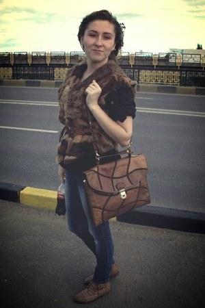 brown fur vest vintage vest
