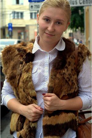 fur vest vintage vest - tawny faux leather hm bag