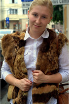 fur vest vintage vest - tawny faux leather hm bag
