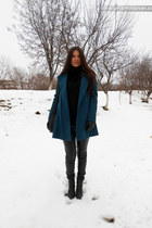 teal Zara coat - black Bershka pants