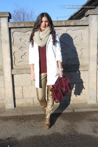 crimson H&M blouse - white Zara coat - crimson new look bag - Zara pants