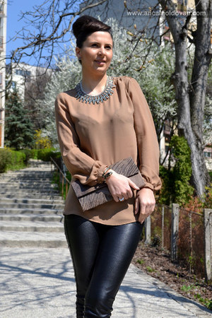 light brown Zara blouse - black Bershka pants - dark brown pull&bear heels