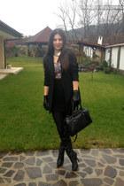 black Zara coat - red Orsay blouse - silver meli melo necklace