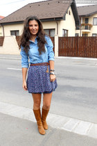 navy Stradivarius skirt - silver new look necklace - tawny Bershka belt