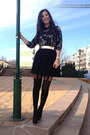 Army-green-only-shirt-black-stradivarius-wedges-black-zara-skirt