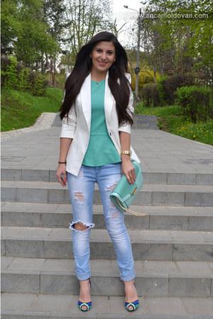 blue Zara sandals - Bershka jeans - off white Bershka blazer