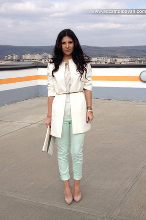 white Zara coat - beige Bershka purse - light blue H&M pants - Zara belt