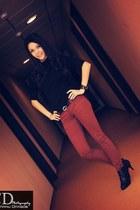 Zara pants - black Leonardo boots - black Bershka skirt