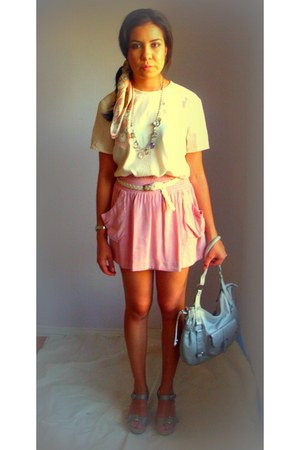 pink rayon Forever 21 skirt - silver leather Michael Rome Designs purse