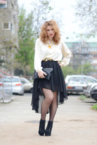 Sheinside skirt - Jeffrey Campbell boots - vintage shirt - handmade bag