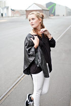 Saucony sneakers - white H&M jeans - black leather Isabell Kristensen jacket