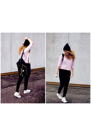 blouse - bubble gum Topshop blouse - sneakers - pants - black h&m divided pants