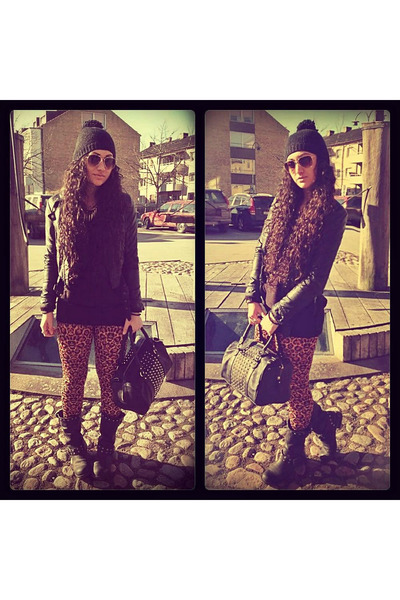 black Nelly boots - black H&M jacket - burnt orange H&M leggings - black H&M bag