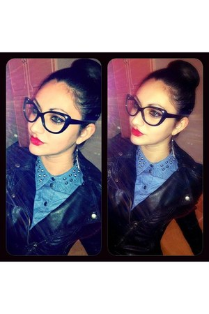 black H&M jacket - blue Vero Moda shirt - black H&M glasses