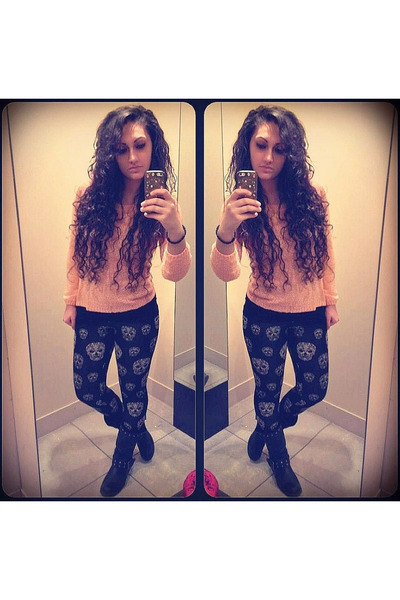 black H&M leggings - black Nelly boots - light orange H&M blouse