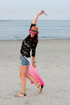 blue Zara shorts - Polo Garage hat - black Zara blouse - bubble gum H&M top