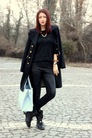 black Zara boots - black Marks & Spencer coat - black Zara sweater