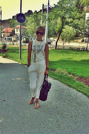 black Bershka bag - H&M sunglasses - white Zara pants - brown Bershka sandals
