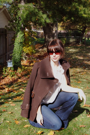 brown Mackage coat - white shirt - blue J Brand jeans