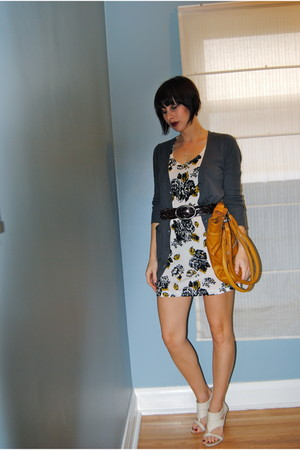 gray JCrew cardigan - white H&M dress - gold danier bag - white Aldo shoes - bro