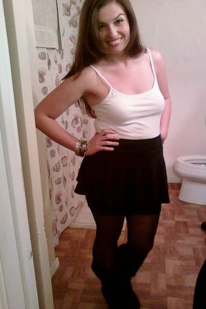 black Forever 21 skirt - Charlotte Russe boots - gray thrifted bracelet