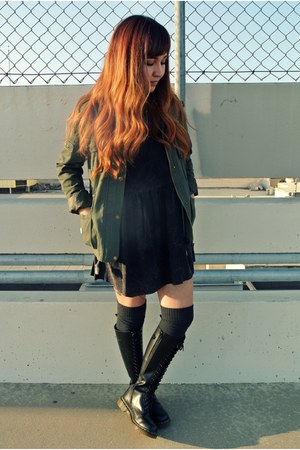 Forever 21 jacket - doc martens boots - Forever 21 dress