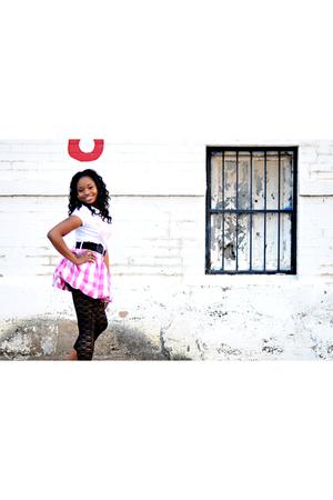 black belt - white shirt - black tights - pink skirt