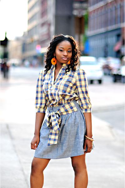 earrings - shirt - skirt