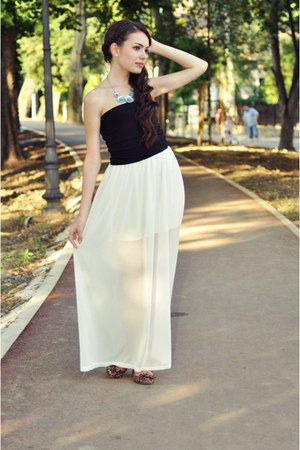 white skirt - black top - brown animal print new look flats