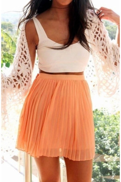 light orange skirt - eggshell scarf - ivory top