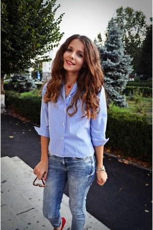 boyfriend Vintage Thrifted shirt - Zara jeans - meli melo sunglasses