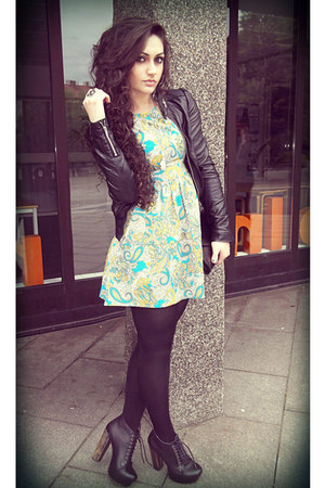 turquoise blue H&M dress - black Jeffrey Campbell boots - black H&M jacket