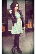 turquoise blue H&M dress - black Jeffrey Campbell boots - black H&M jacket