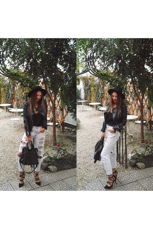 black Stradivarius hat - black jacket - black Zara bag - black Zara heels