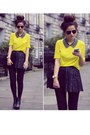 Yellow-shirt-black-tights-black-bag-black-skirt-gold-watch