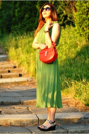 dark green plated Sheinside dress - red Manier bag - black Otter sandals