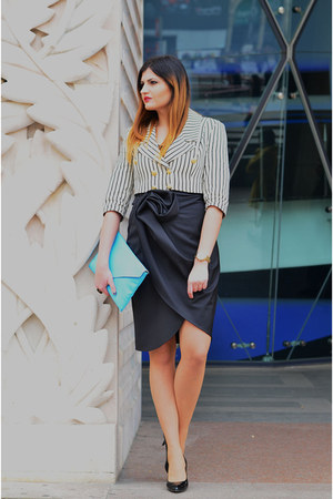 black Laura Galic skirt - white striped Laura Galic jacket