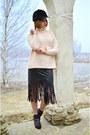 Light-pink-zara-sweater-black-fringed-persunmall-skirt