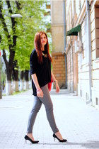 black chicnova blouse - charcoal gray H&M Trend pants - black staccato heels