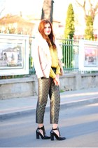 gold glitter pants - black leather look boots - nude fur Sheinsidecom jacket