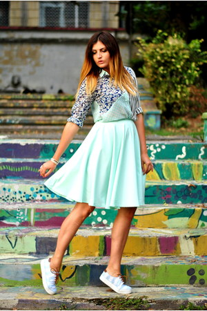 aquamarine romwe skirt - aquamarine romwe shirt