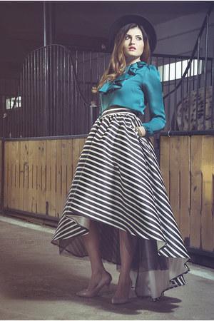 black Laura Galic skirt - teal silk Laura Galic blouse
