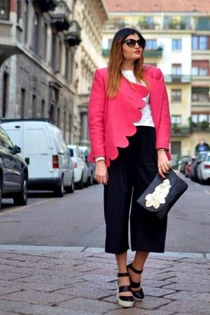 black leather Vogel bag - hot pink Laura Galic coat - black H&M pants