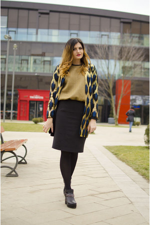 gold Sheinside cardigan - black pencil skirt Dames skirt