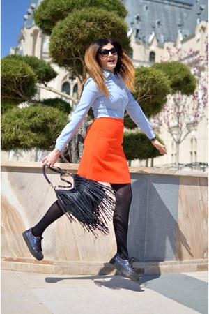 light blue Dames shirt - carrot orange Dames skirt