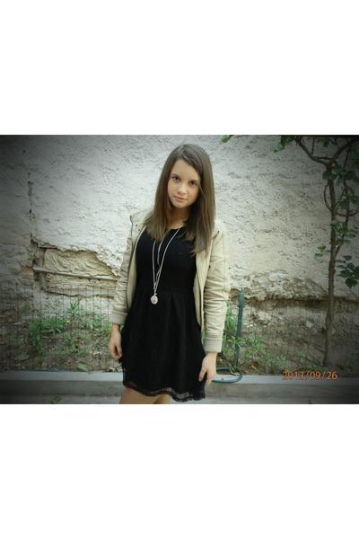 black dress - brown jacket