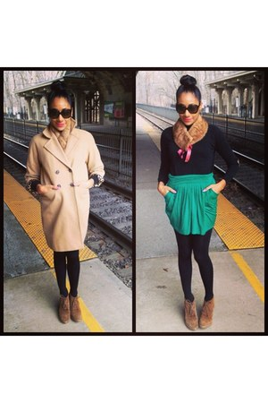 green Express skirt - brown Aldo boots - bronze Andromeda Couture jacket